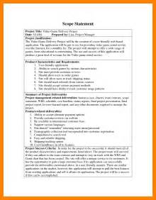 scope statement template 7 sle scope statement resume sections