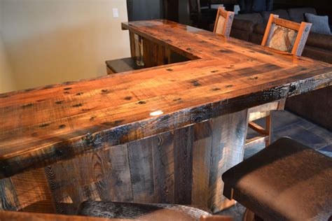 reclaimed bar top handcrafted custom built wood furniture enterprise wood