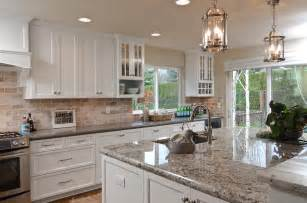Cabinet Idaho White Painted Shaker Kitchen Cabinets Granite Island