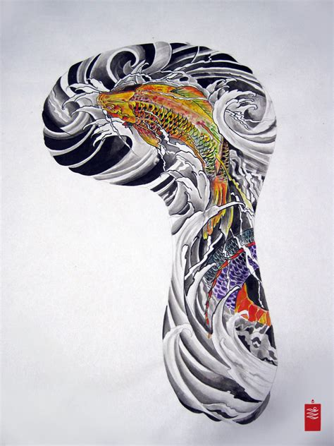 koi sleeve tattoo designs koi fish japanese sleeve design quarter sleeve