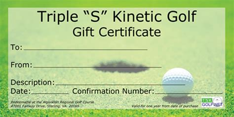 golf gift card template quot s quot kinetic golf gift certificates for golf
