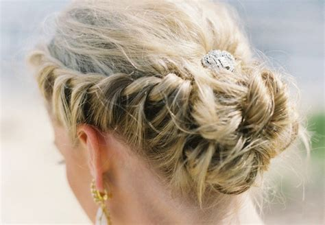 regal hairstyles regal wedding updo braided with rhinestone clip onewed com