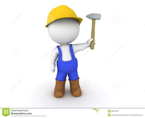 Free Plans by 3d Man Worker With Hammer Royalty Free Stock Image Image