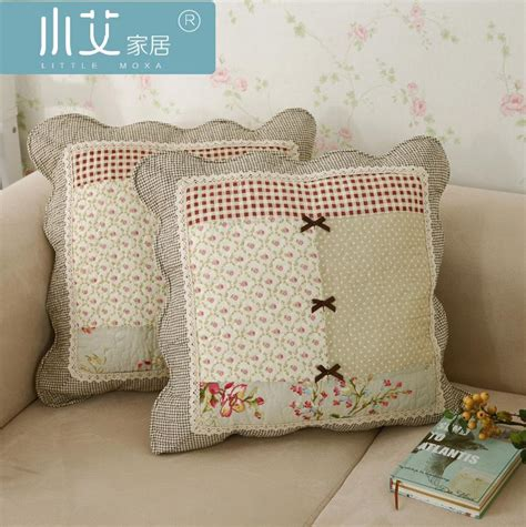 Sarung Bantal Sofa Cushion Cover Shabby Chic Blue Flower shabby chic country cottage floral beige sofa throw pillow cushion cover ebay