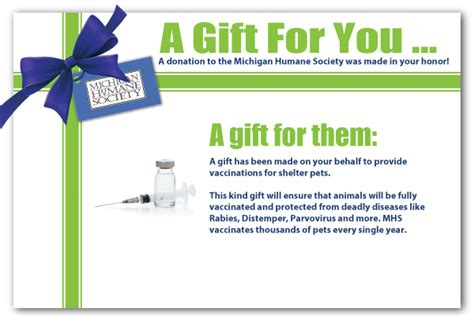 A Donation Has Been Made In Your Honor Template Michigan Humane Society