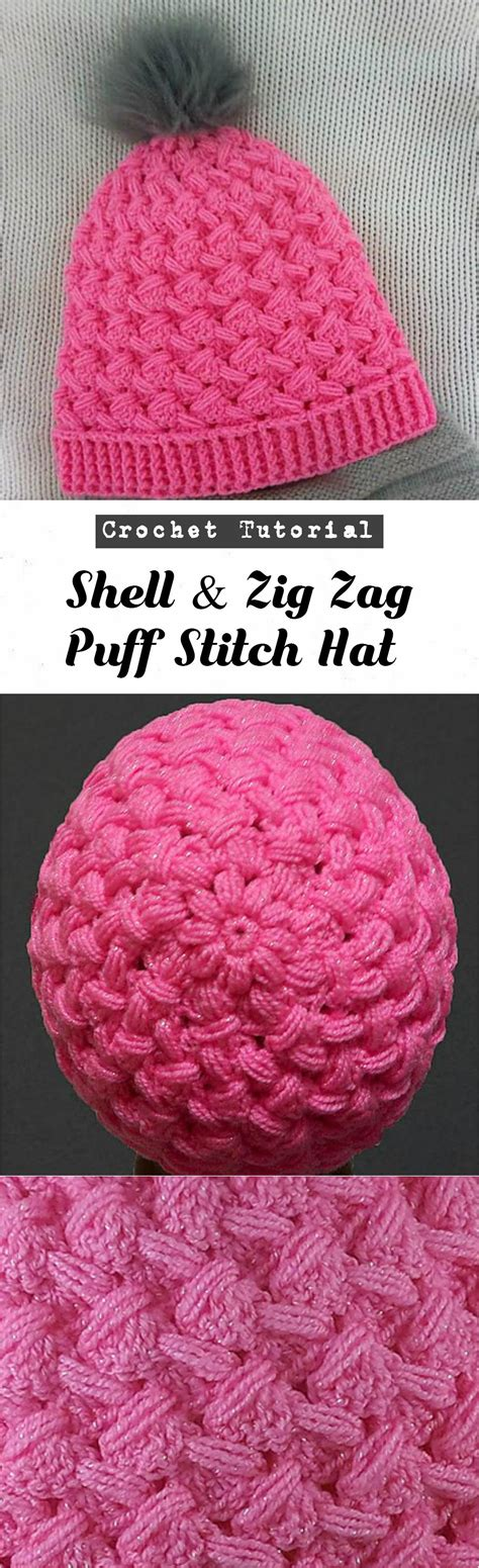 zig zag shell crochet pattern crochet shell zig zag puff stitch hat pretty ideas