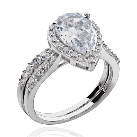 Cubic Zirconia Engagement Rings by Sterling Silver Pear Shape Cubic Zirconia Engagement
