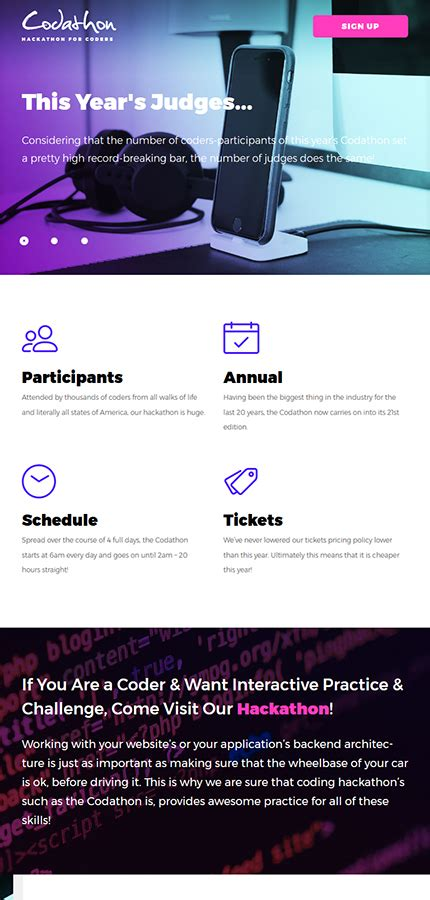 Codathon Hackathon For Coders Landing Wordpress Theme Wordpress Website Templates Hackathon Website Template