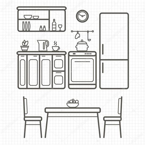 images for kitchen furniture kitchen furniture outline sketch stock vector 169 elvetica