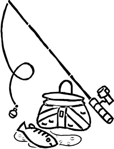 coloring page of fishing pole equipment for fishing coloring page supercoloring com