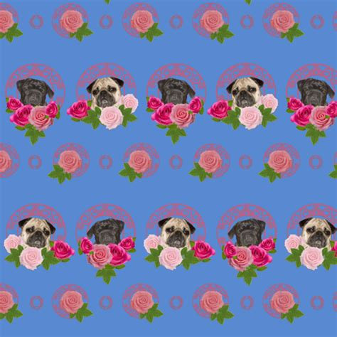 pug wallpaper for walls pug wall paper pugs n roses fabric lil creatures spoonflower