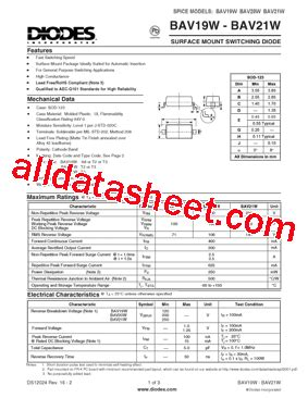 diodes inc bav99 7 f bav20w 7 f データシート pdf diodes incorporated