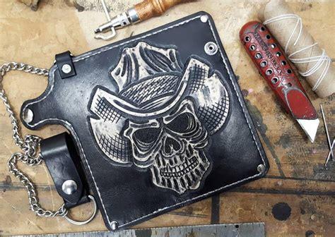 leather trucker wallet pattern chain wallet cowboy from hell biker wallet leather wallet