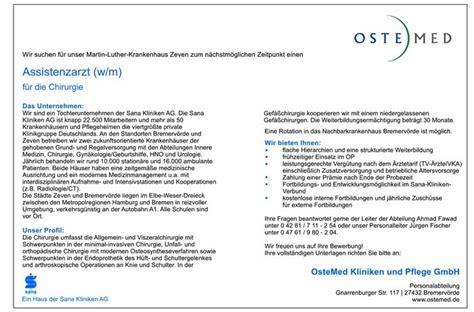 Bewerbungsschreiben Assistenzarzt Medizin Stellenangebot Assistenzarzt W M F 252 R Die Chirurgie In Bremerv 246 Rde
