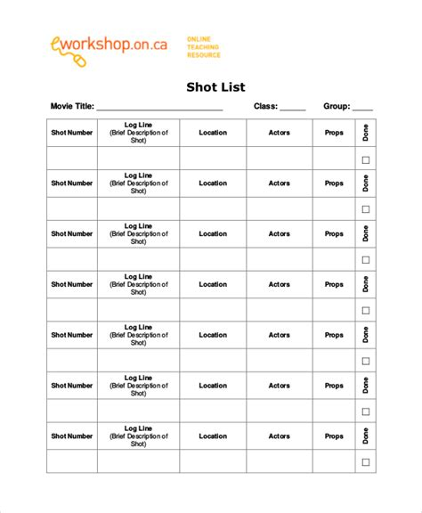 Shot List Template 10 Free Word Pdf Psd Documents Download Free Premium Templates Easy Roster Template