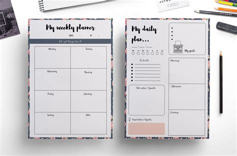 planner com weekly planner daily planner floral background by