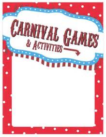 Carnival Sign Template by Elementary School Carnival Sign Ideas Printables