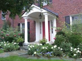 Portico On Colonial House Classic Portico On Brick Colonial Traditional Entry