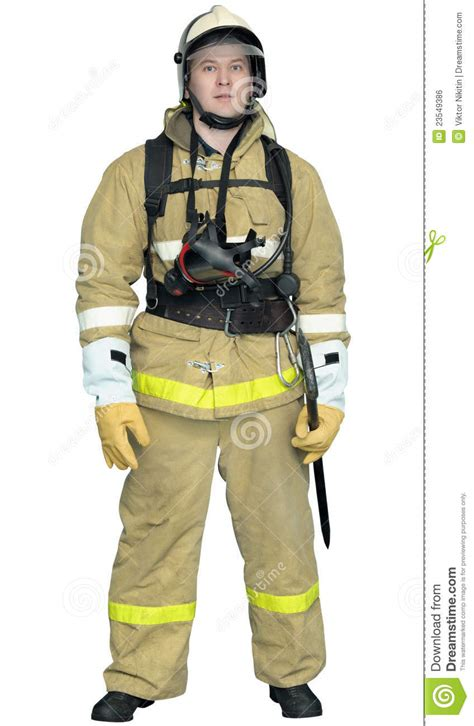 firefighter in a special outer protective clothing stock