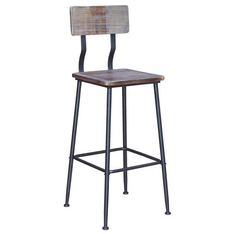 Industrial Bar Stool With Back Industrial Series Metal Bar Stool With Wood Back Seat