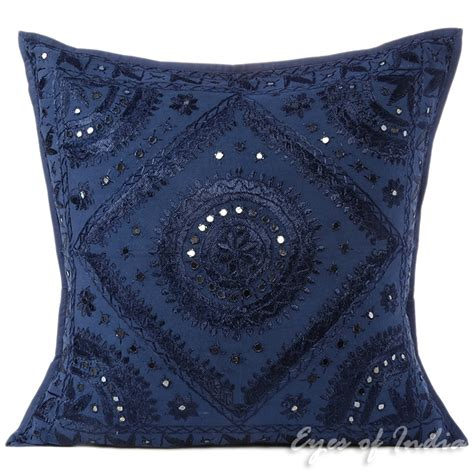 Cushion Cover For Sofa Blue Mirror Embroidered Sofa Decorative Throw Pillow