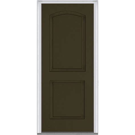 Pre Hung Exterior Doors Mmi Door 32 In X 80 In Left Inswing 2 Panel Archtop Classic Painted Fiberglass Smooth