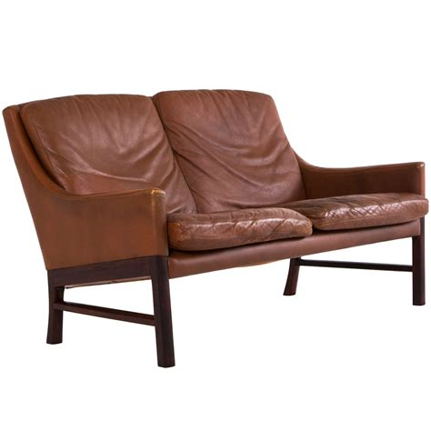 1 seater leather sofa danish two seater sofa in original cognac leather for sale