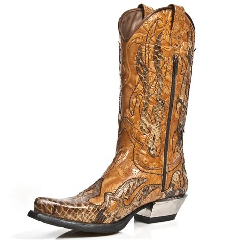 Handmade Cowboy Boots - new rock m 7921b c2 custom brown faux snakeskin cowboy