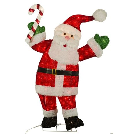 holiday living 48 in lighted tinsel santa outdoor