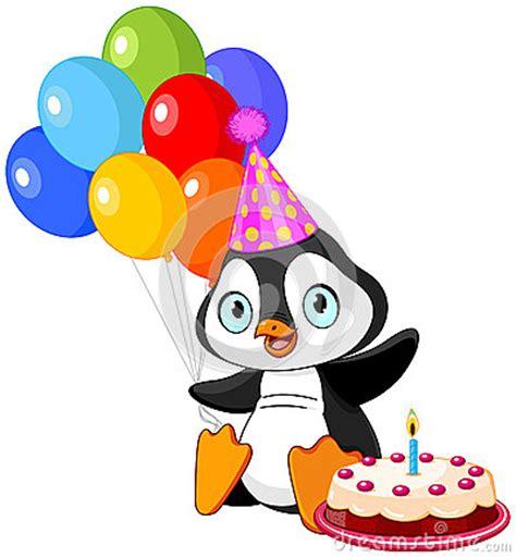 penguin celebrates birthday stock vector image