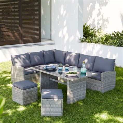homebase for kitchens furniture garden decorating matara rattan effect 7 seater corner garden sofa set at