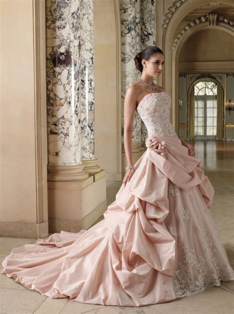 david tutera for mon cheri designer pink wedding dress - Pink Designer Wedding Dresses