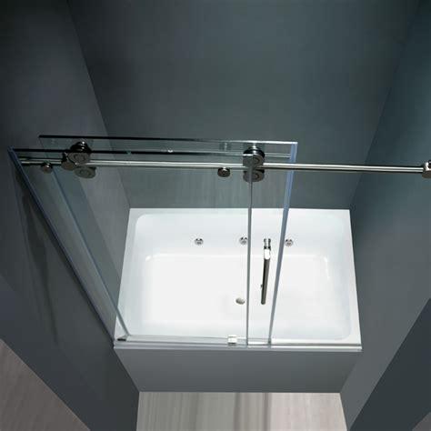 Shower Door Water Deflector Vigo 60 Inch Frameless Tub Door 3 8 Quot Clear Chrome Hardware Product
