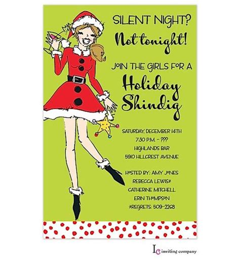 Cocktail Party Invitation Ideas - christmas cocktail party invitation woman holding cocktail dressed in santa clothes for