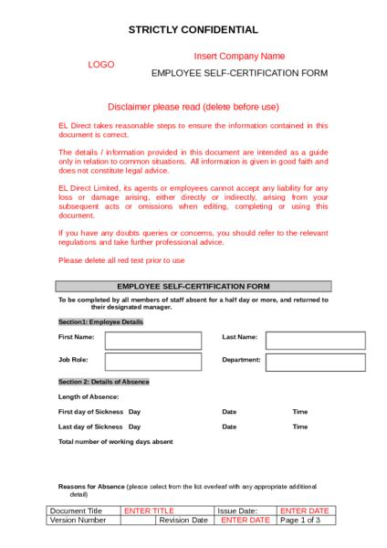 self certification sickness form template self certification sickness form to