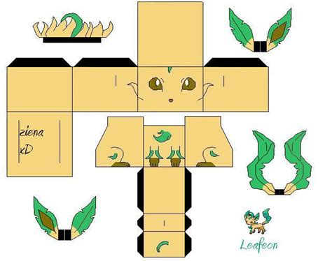 Leafeon Papercraft - leafeon shiny by zienaxd on deviantart
