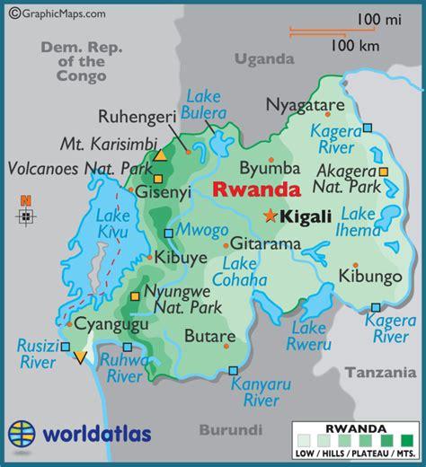 rwanda map rwanda large color map