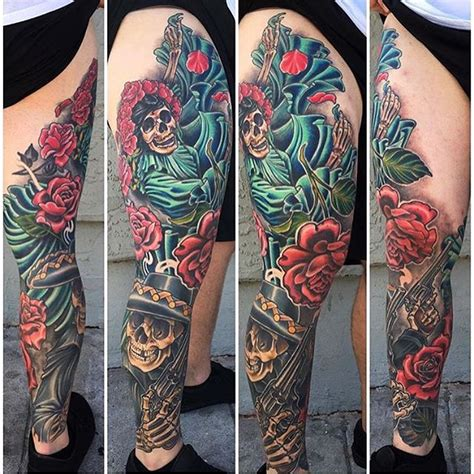 day of the dead tattoo sleeve day of the dead color leg sleeve