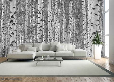 black and white wall mural birch tree forest black and white buy prepasted wallpaper murals muralunique