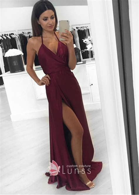 Line Slit burgundy a line prom dress with spaghetti straps and