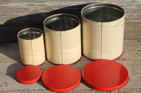 mid century vintage metal kitchen canisters w bright
