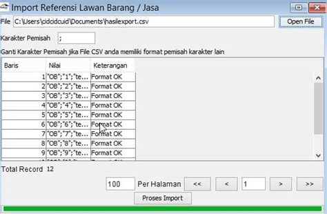 format csv adalah entry export import referensi barang jasa pada e faktur