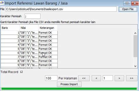 format excel import data e faktur entry export import referensi barang jasa pada e faktur