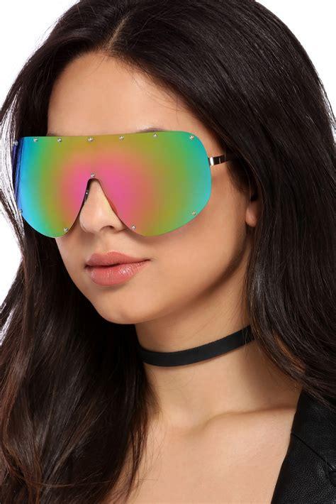 Multi Deflector multi studded shield sunglasses