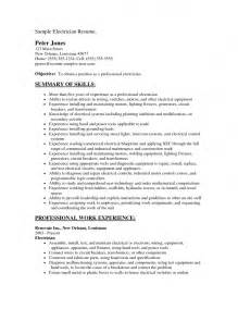 Low Voltage Electrician Sle Resume by Residential Electrician Resume Template Design