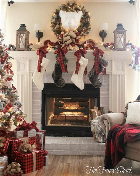 wintry christmas fireplace decorations  celebrate