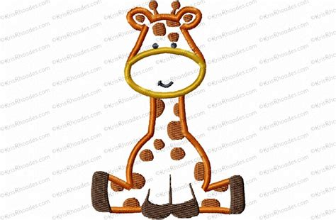 giraffe applique giraffe sitting applique embroidery design