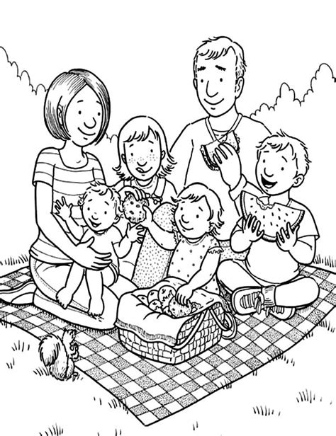 coloring pages of family picnic family holiday picnic coloring page netart