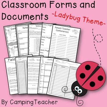 ladybug document classroom forms and documen by cingteacher