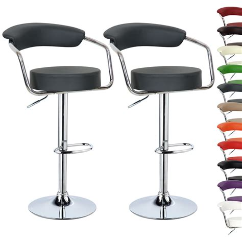 Leather Kitchen Stools by 1 2 Pcs Faux Leather Bar Stools Kitchen Breakfast Stool